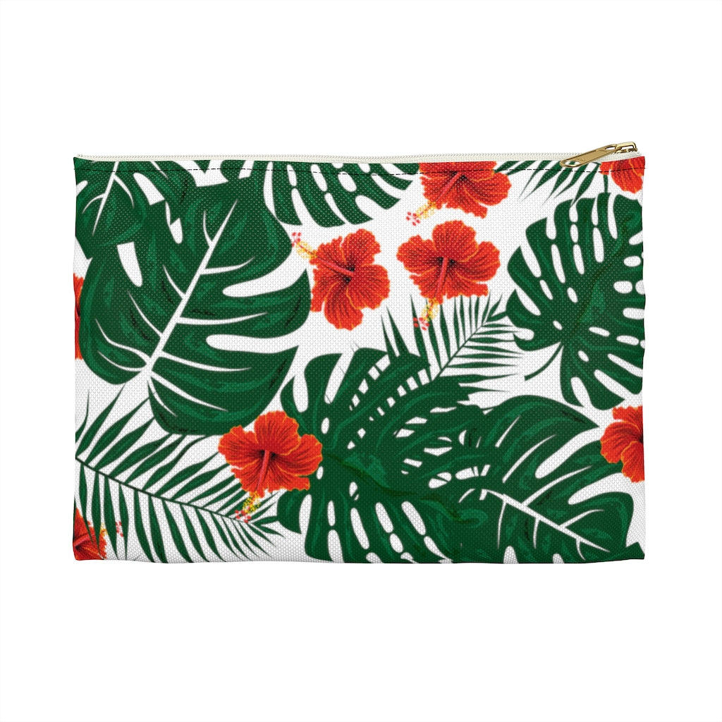 Tropical Monstera Palm Leaves Hibiscus Accessory Pouch-Bags-famenxt