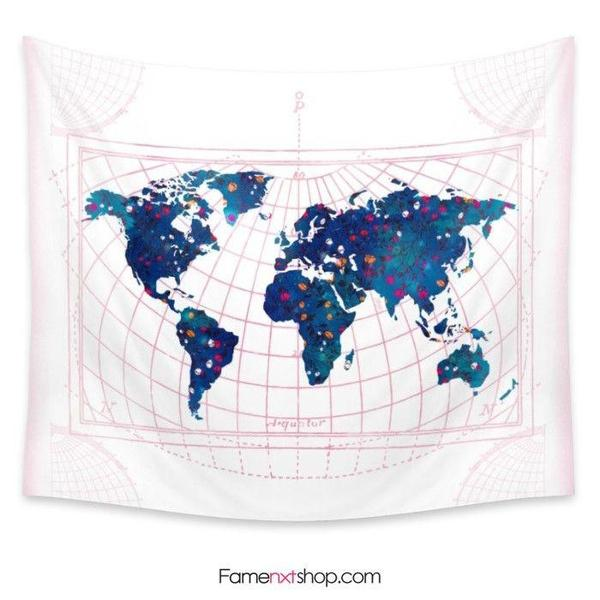 World map Tapestry-Wall Tapestry-famenxt