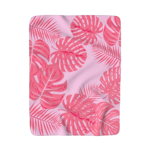 Tropical flamingo pink leaves Sherpa Fleece Blanket-Throw Blanket-famenxt