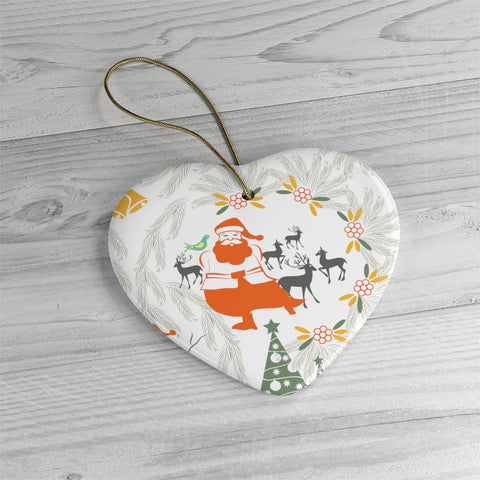 Joyful Santa Ceramic Ornaments in Four Unique Shapes-Home Decor-famenxt