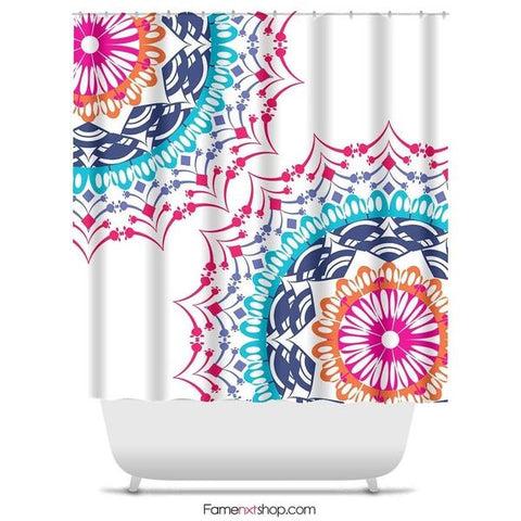 "Folk bohemian mandala Shower Curtain Sizes: 70in x 70in, 70in x 83in, 70in x 90in, 71in x 74in Sizes: 70"" x 70"", 70"" x 83"", 70"" x 90"", 71"" x 74""-Shower Curtain-famenxt"