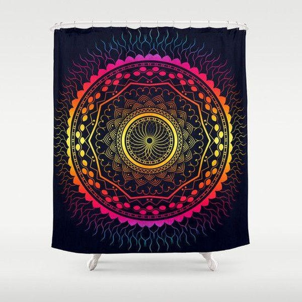 "Psychedelic Mandala shower curtain Sizes: 70in x 70in, 70in x 83in, 70in x 90in, 71in x 74in Sizes: 70"" x 70"", 70"" x 83"", 70"" x 90"", 71"" x 74""-Shower Curtain-famenxt"