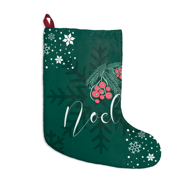 Noel Christmas Stocking Double Sided Printed Green Front Red Back-Home Decor-famenxt