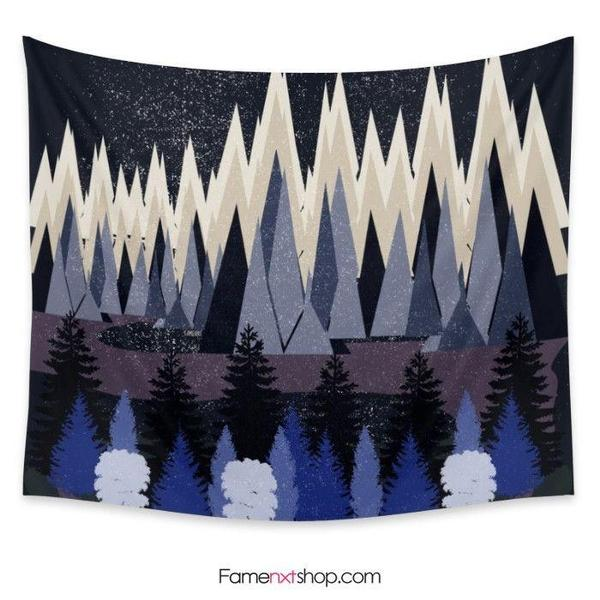 Mountains and trees lets get lost tonight Tapestry-Wall Tapestry-famenxt