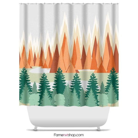 "Mountains and trees lets get lost Shower Curtain Sizes: 70in x 70in, 70in x 83in, 70in x 90in, 71in x 74in Sizes: 70"" x 70"", 70"" x 83"", 70"" x 90"", 71"" x 74""-Shower Curtain-famenxt"