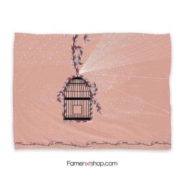 Florica bird cage peach Throw Blanket-Throw Blanket-famenxt
