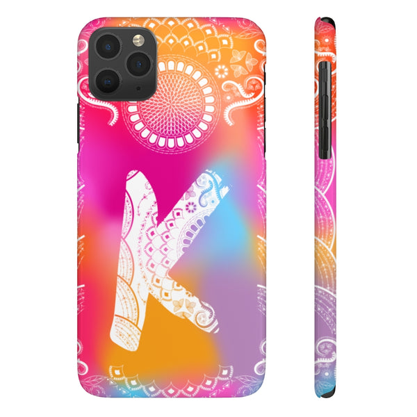 Monogram Collection- Boho- Choose your initial K iPhone Case Phone Cases-Phone Case-famenxt