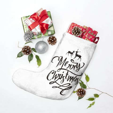 Merry Christmas Typography Christmas Stocking Double Sided Printed-Home Decor-famenxt