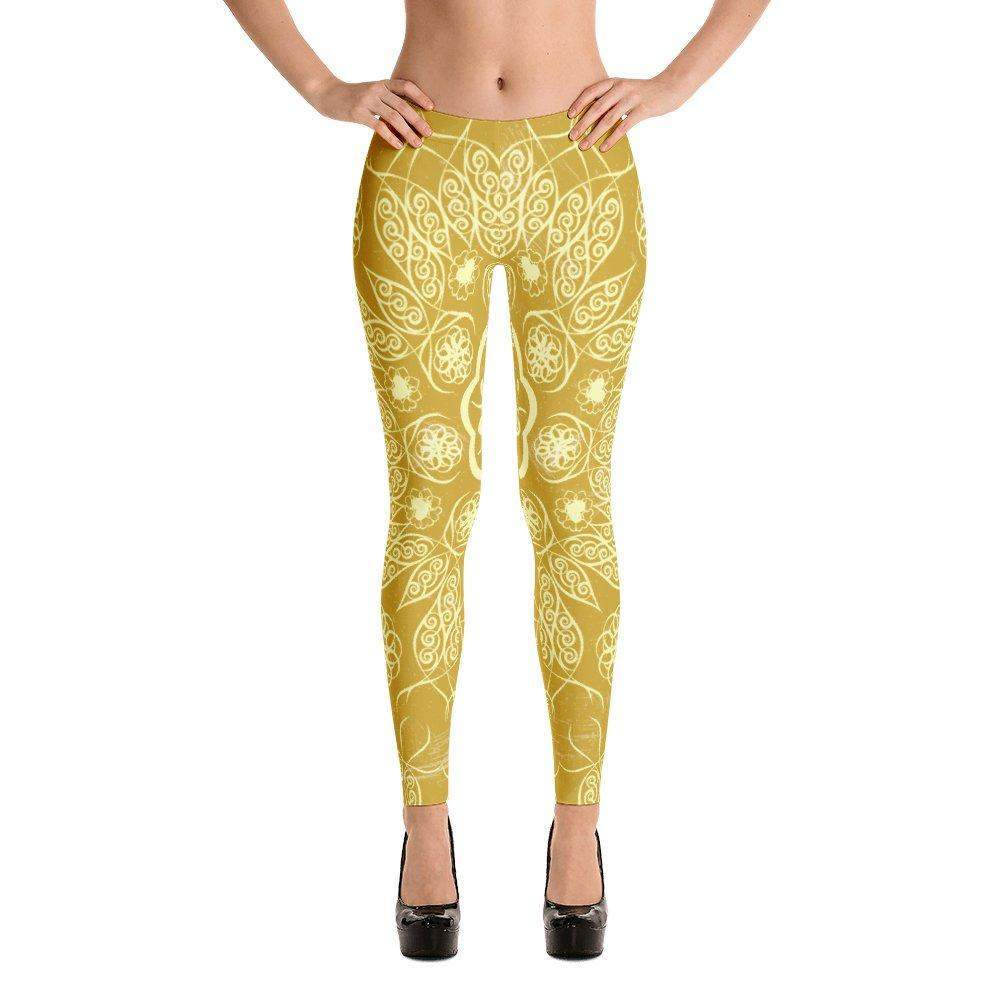 Golden Mandala leggings-Leggings-famenxt