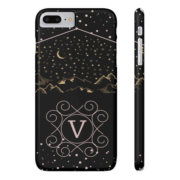 Monogram Collection- Starry Night- Choose your initial V Phone Case-Phone Case-famenxt