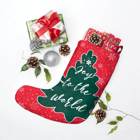 Joy to the World Christmas Stocking Double Sided Printed-Home Decor-famenxt