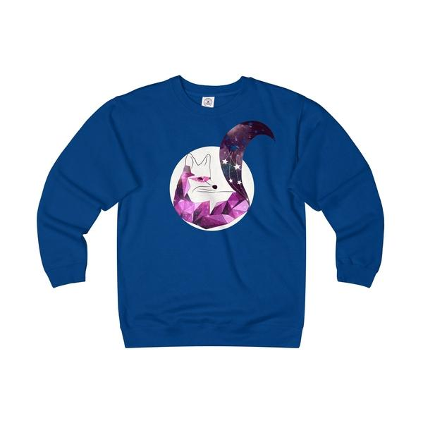Geometric Pink Galaxy Stars Fox Unisex Heavyweight/Lightweight Fleece Crew-Sweatshirt-famenxt