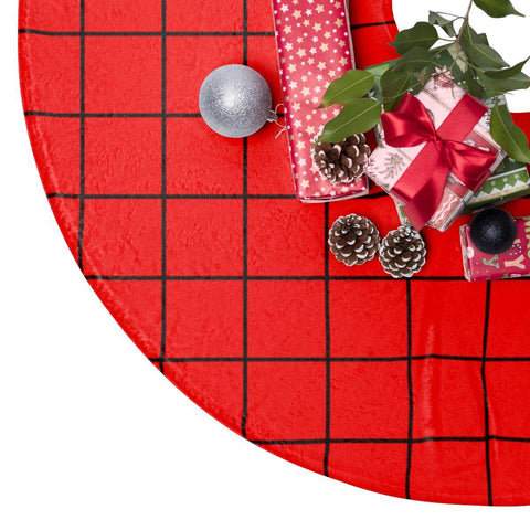 "Red Grid 44"" Christmas Tree Skirt-Home Decor-famenxt"