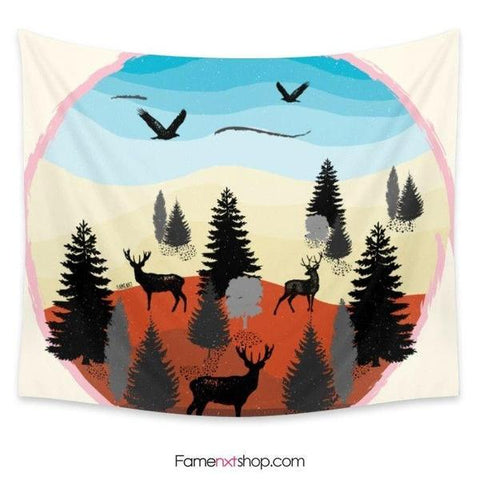 Evening forest landscape tonight Tapestry-Wall Tapestry-famenxt