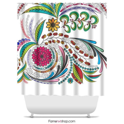 "Colorful elegant floral Shower Curtain Sizes: 70in x 70in, 70in x 83in, 70in x 90in, 71in x 74in Sizes: 70"" x 70"", 70"" x 83"", 70"" x 90"", 71"" x 74""-Shower Curtain-famenxt"