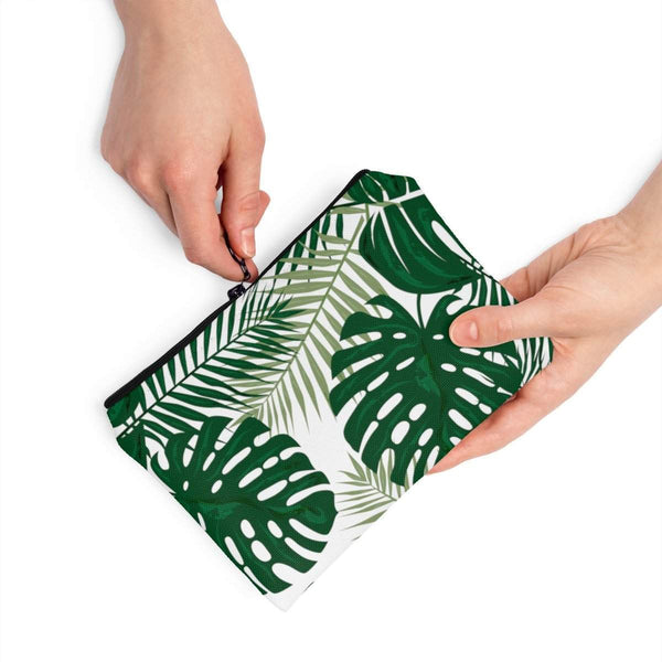 Tropical Monstera Palm Leaves Accessory Pouch-accessory pouches-famenxt