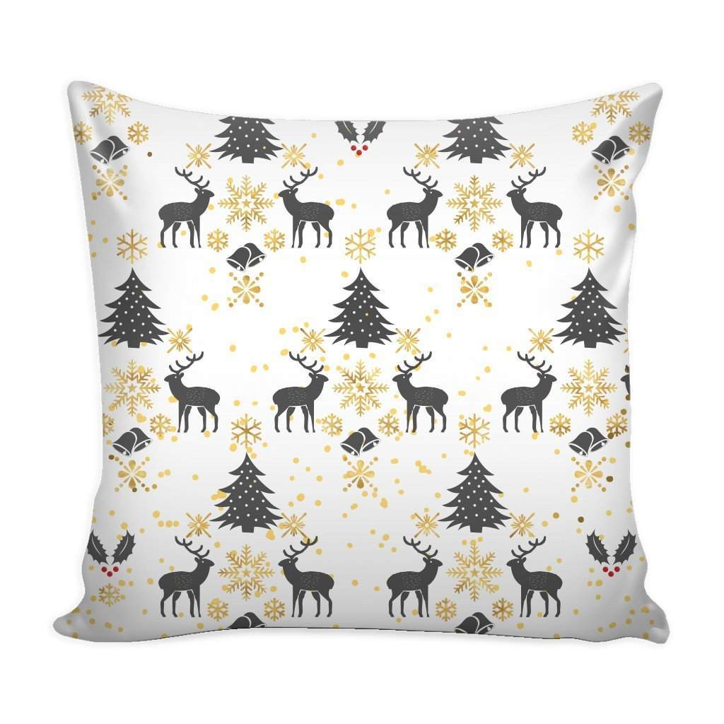 Gold Black Christmas Pattern Throw Pillow Case with White Back-Pillows-famenxt
