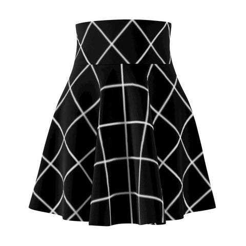 Black Grid Women's Skater Skirt-All Over Prints-famenxt