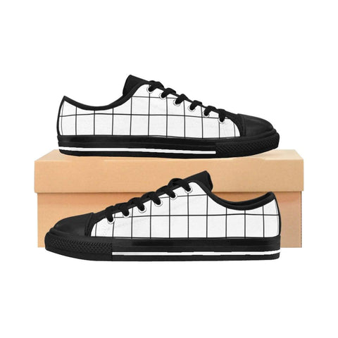 White Grid Women's Sneakers - famenxtshop