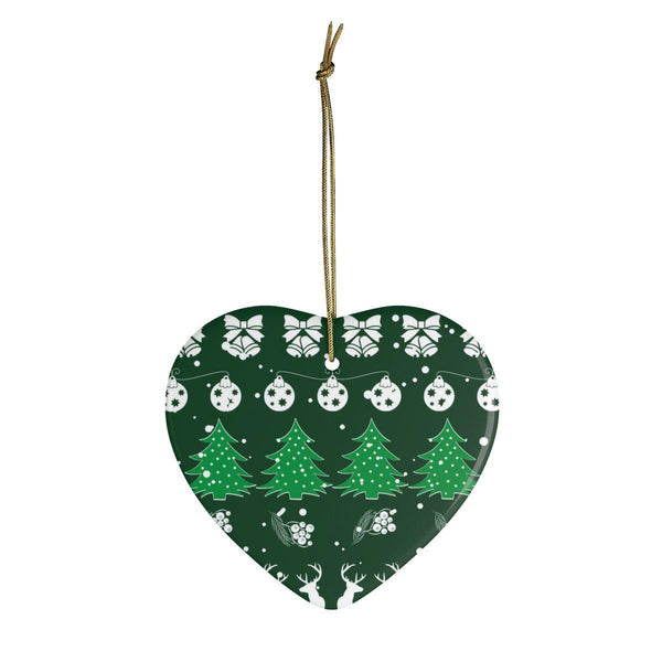 Christmas Vibes Green Ceramic Ornaments in Four Unique Shapes-Home Decor-famenxt
