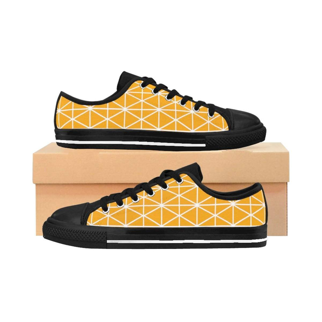 Modern Geometric Pattern Orange Women's Sneakers-Shoes-famenxt