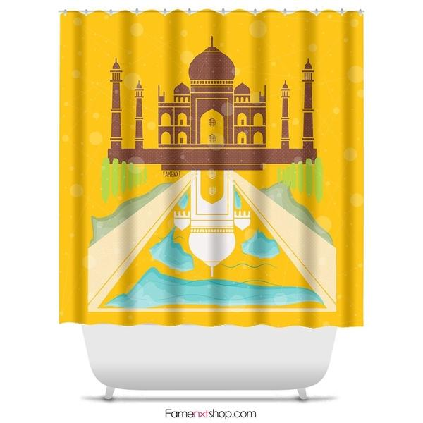 "The Taj Mahal Shower Curtain Sizes: 70in x 70in, 70in x 83in, 70in x 90in, 71in x 74in Sizes: 70"" x 70"", 70"" x 83"", 70"" x 90"", 71"" x 74""-Shower Curtain-famenxt"
