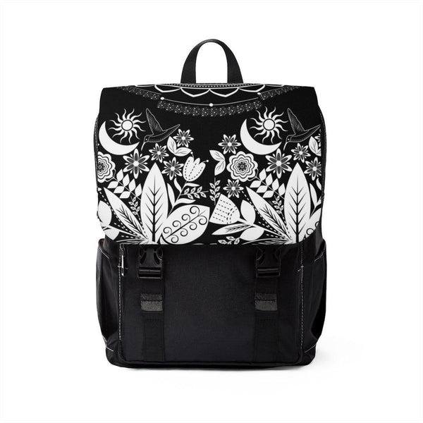 Half Mandala and Secret Garden from my15bohemianart Collection Black Unisex Casual Shoulder Backpack-Bags-famenxt