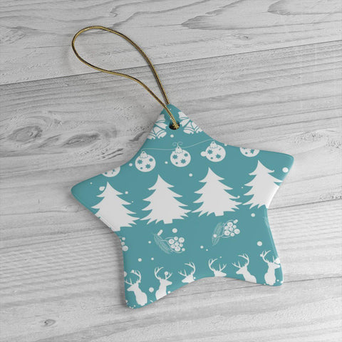Christmas Vibes Blue Ceramic Ornaments in Four Unique Shapes-Home Decor-famenxt