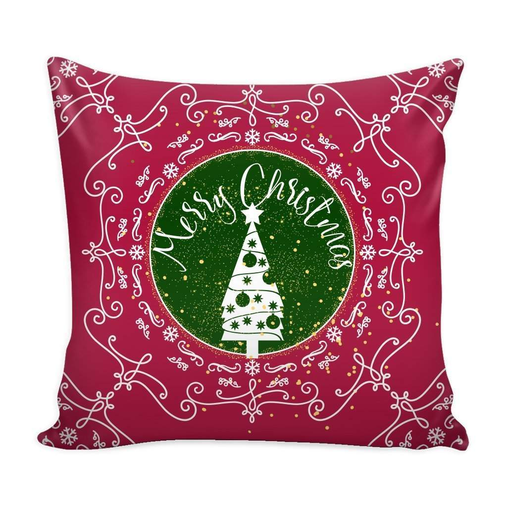 Merry Christmas Ornamental Red Throw Pillow Case with White Back-Pillows-famenxt