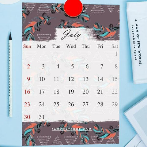 July Monthly Calendar Printable, instant download-Calendar Digital Download-famenxt