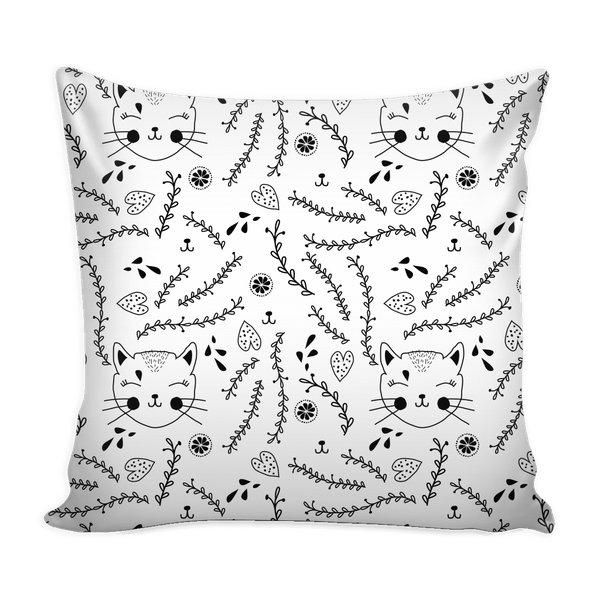 Cats and Floral Throw Pillow Case-Pillows-famenxt