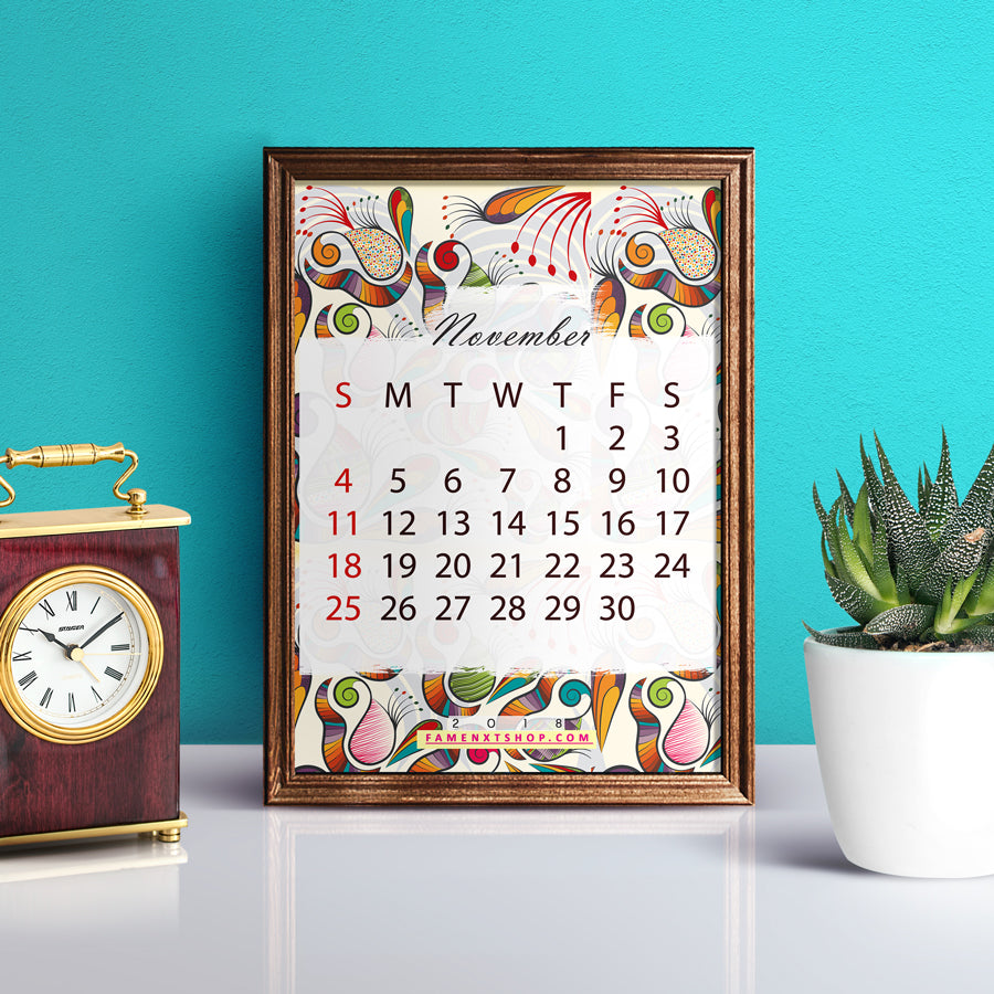 November Monthly Calendar Printable, instant download-Calendar Digital Download-famenxt