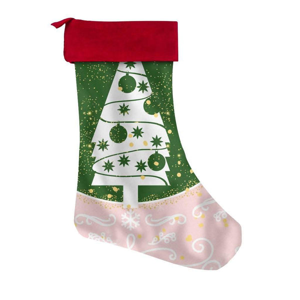 Christmas Tree Pastel Red Christmas Stocking-Christmas Stockings-famenxt