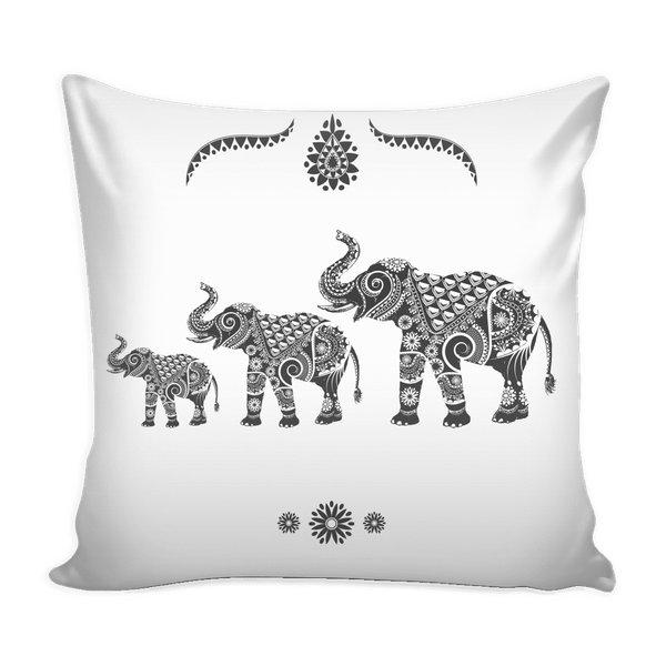 Ornate Indian Elephants Throw Pillow Case-Pillows-famenxt