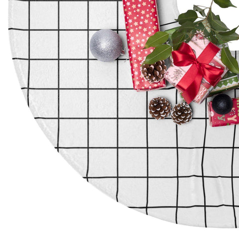 "Grid 44"" Christmas Tree Skirt White Christmas Decor-Home Decor-famenxt"