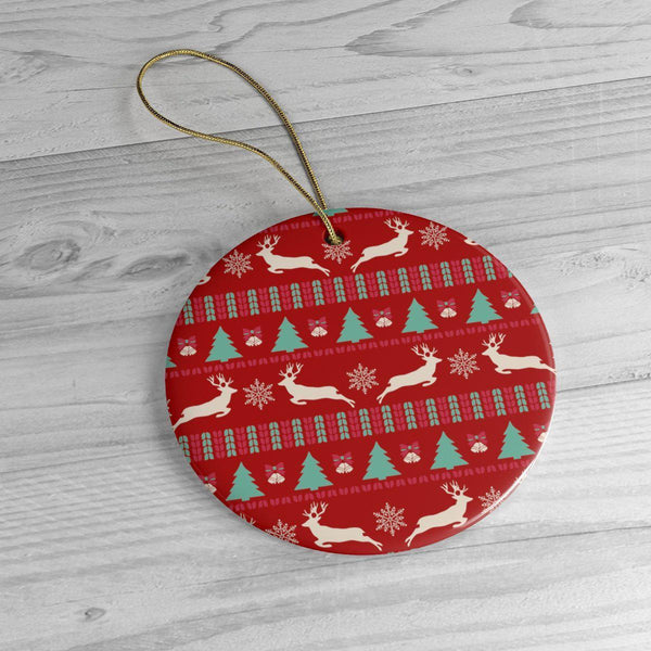 Christmas Red Ceramic Ornaments in Four Unique Shapes-Home Decor-famenxt