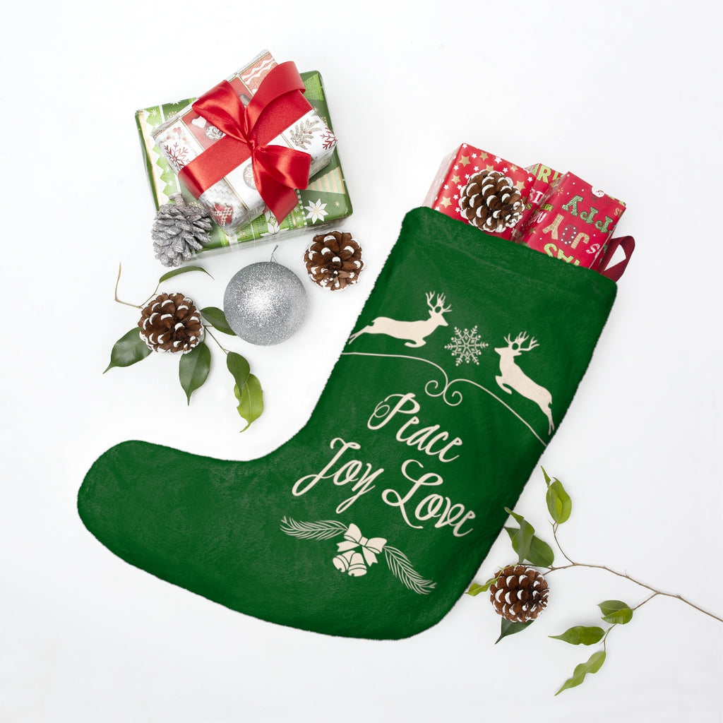 Peace Joy Love Green Christmas Stocking Double Sided Printed-Home Decor-famenxt