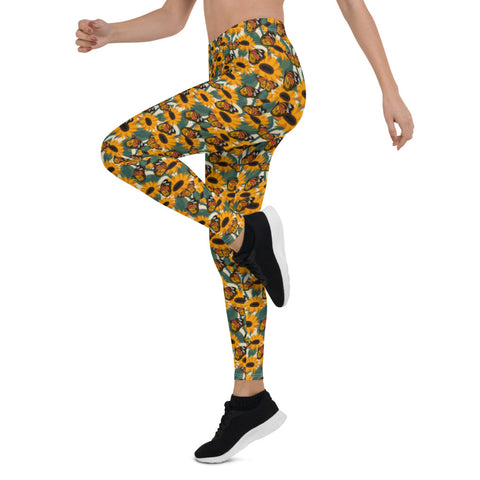 Sunflowers flower field and Monarch Butterflies Leggings-famenxt