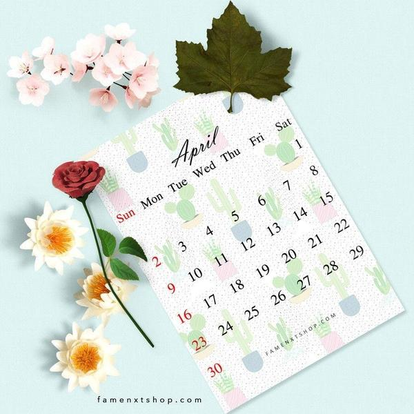 Monthly Calendar Printable, instant download, April-Calendar Digital Download-famenxt