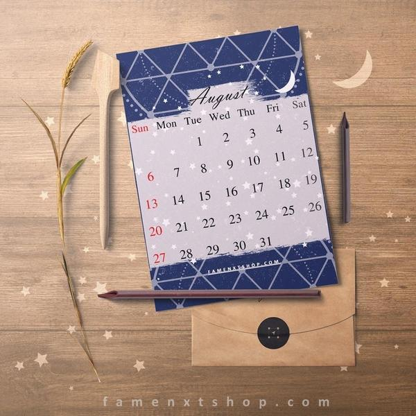 Monthly Calendar Printable, instant download, August