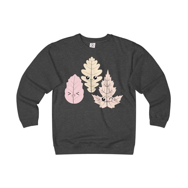 Happy Leaves Adult Unisex Heavyweight/Lightweight Fleece Crew-Sweatshirt-famenxt