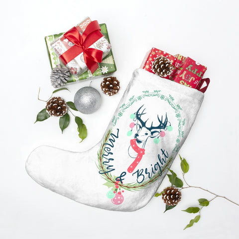 Merry and Bright Christmas Stocking Double Sided Printed-Home Decor-famenxt