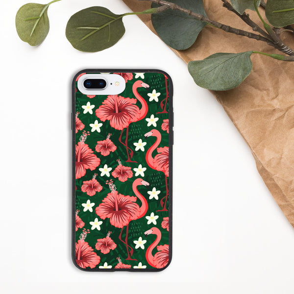 Hibiscus Flamingoes Biodegradable phone case-famenxt
