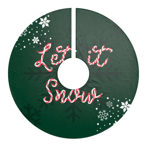 "Let it snow Green 44"" Christmas Tree Skirt-Home Decor-famenxt"
