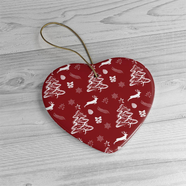 Red Christmas Pattern Ceramic Ornaments in Four Unique Shapes-Home Decor-famenxt