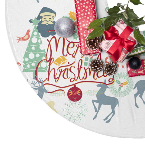 "Merry Christmas White 44"" Christmas Tree Skirt White Christmas Decor-Home Decor-famenxt"
