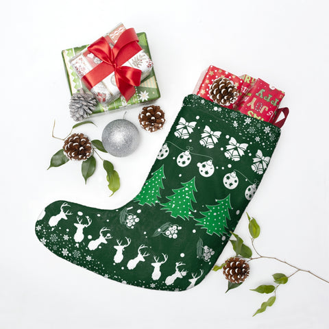 Festive Christmas Vibes Green Christmas Stocking Double Sided Printed-Home Decor-famenxt