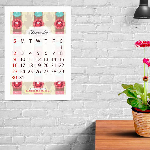 December Monthly Calendar Printable, instant download-Calendar Digital Download-famenxt