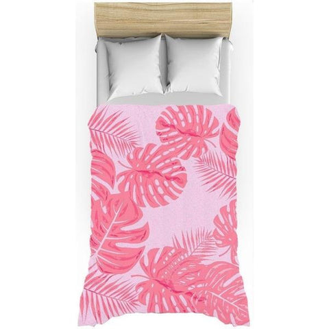 Tropical leaves flaming pink duvet cover-Duvet Cover-famenxt