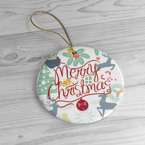 Merry Christmas Ceramic Ornaments in Four Unique Shapes-Home Decor-famenxt
